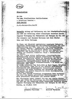 DDR-Ausreiseantrag vom 31.3.1986
