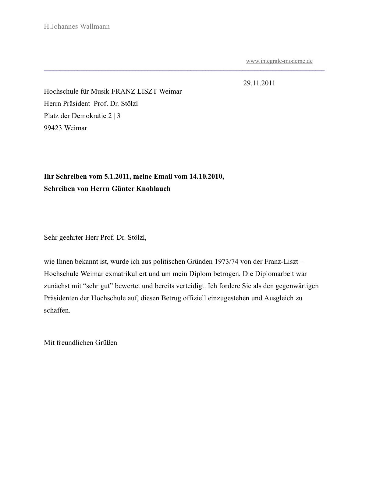 h johannes wallmann am 2911 2011 an den prsidenten der weimarer franz liszt - Biografiearbeit Muster