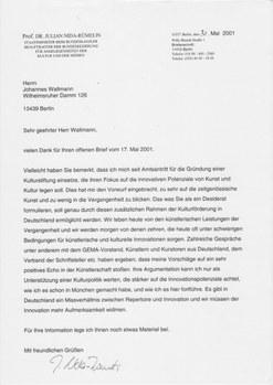 Antwort von Kultur-Staatsminister Nida-Rümelin