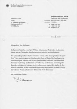 Antwort von Kultur-Staatsminister Neumann vom 16.5.2011