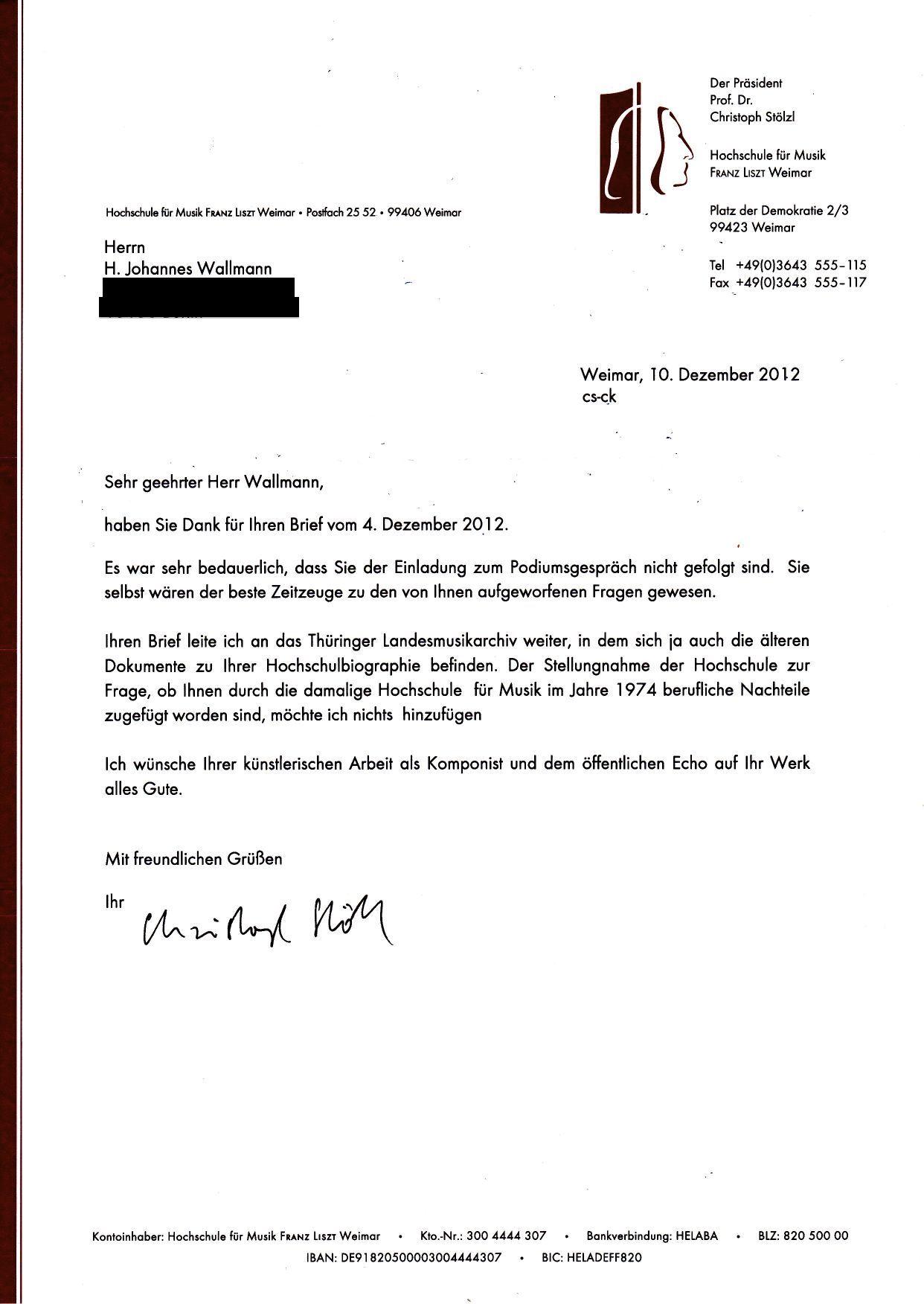 dokument 1 schreiben vom 1012 2012 der franz liszt hochschule weimar - Stellungnahme Schreiben Beispiel