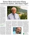 Dokument 15: Thüringer Allgemeine 1.10. 2013 über Wallmanns Reiner-Kunze-Zyklus DER BLAUE VOGEL