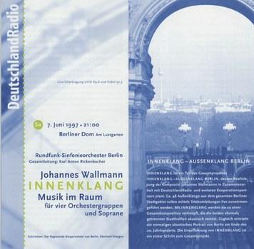 Faltblatt zur Uraufführung von INNENKLANG