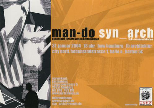"""""""MAN-DO""""  MUSIK IM RAUM FÜR 6 INSTRUMENTALGRUPPEN von H. Johannes Wallmann, kombiniert mit der Rauminstallation """"SYN_ARCH""""; in Kooperation mit dem Fachbereich Architektur der Hochschule für für Angewandte Wissenschaften, Hamburg, am 31.1. 2004"""