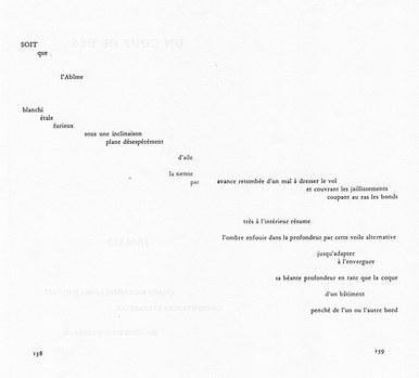 Berliner Zeitung, 19.09.97 zur Uraufführung von »TRANSFORMA« »...Danach tauchen wir doch noch ganz in den Raum ein, verschwinden in ihm mit Wallmanns »Transforma«. Stimmen, hoch in der Frequenz, schweben durch den alten Wasserspeicher, füllen den Raum ganz aus, und mehr als einmal prallen sie aufeinander wie glitzernde Stahlkugeln. Hier wird wahr, was die Idee der Kryptonale III ist: der Raum, wie er da ist, bleibt sich selbst erhalten, der innere Raum weitet sich.« Im Bild: Ausschnitt aus UN COUP DE DÉS (1897)